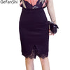 Plus Size Skirt Formal Lace Patchwork Solid Skirt Skirts Elegant Stretch Pencil Cute Midi Skirt