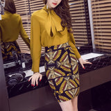 Women Pencil Skirt High Waist Office Work Print Colorful Mini Split Formal Skirts Plus Size
