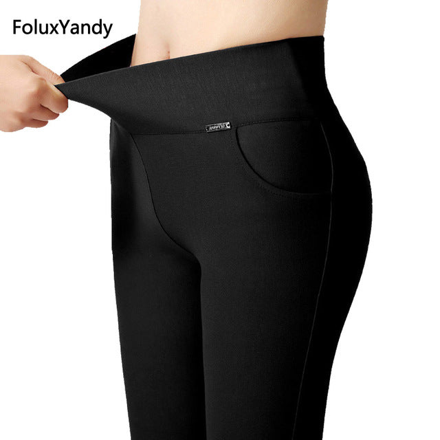 High Waist Leggings Women Slim Elastic Stretched Bodycon Leggings Office Lady Trousers
