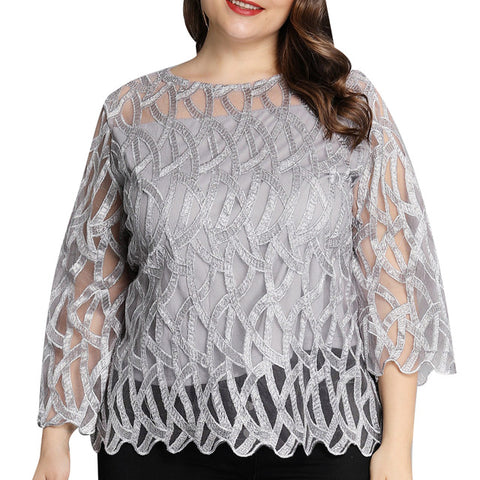 Plus Size Blouses Geometric Mesh Patchwork Shirts Women Transparent Sleeve Tops Offices Blouse