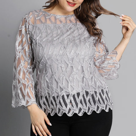 Plus Size Black Tops V-neck Button Splice Mesh Nine Points Sleeve Autumn Casual Loose Women T-shirt