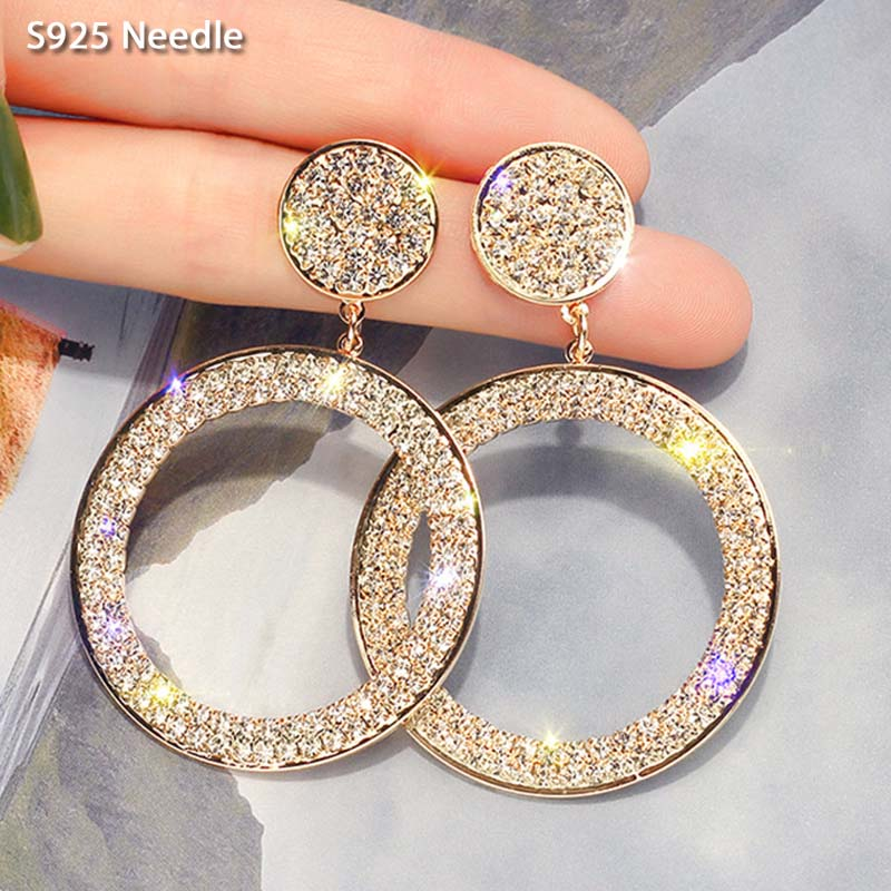 925 Sterling Silver Needle Long Dangle Earrings Women Jewelry Round Rhinestone Women Drop Earrings