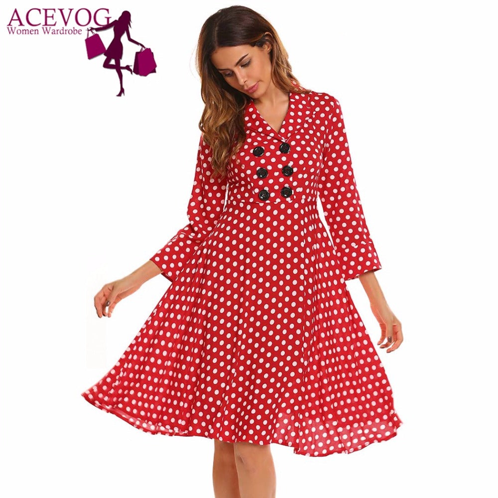 fcd47c68f6e6 ... Vintage Dress Women Autumn 50s 60s Polka Dot V-Neck 3/4 Sleeve Button  ...