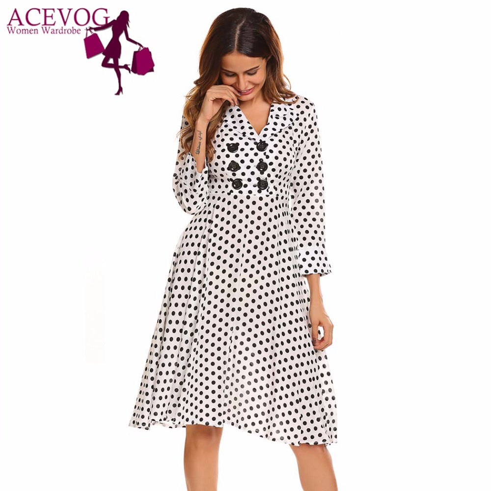 f72d11df2834e Vintage Dress Women Autumn 50s 60s Polka Dot V-Neck 3/4 Sleeve Button  Ruffles A-Line Party Dresses