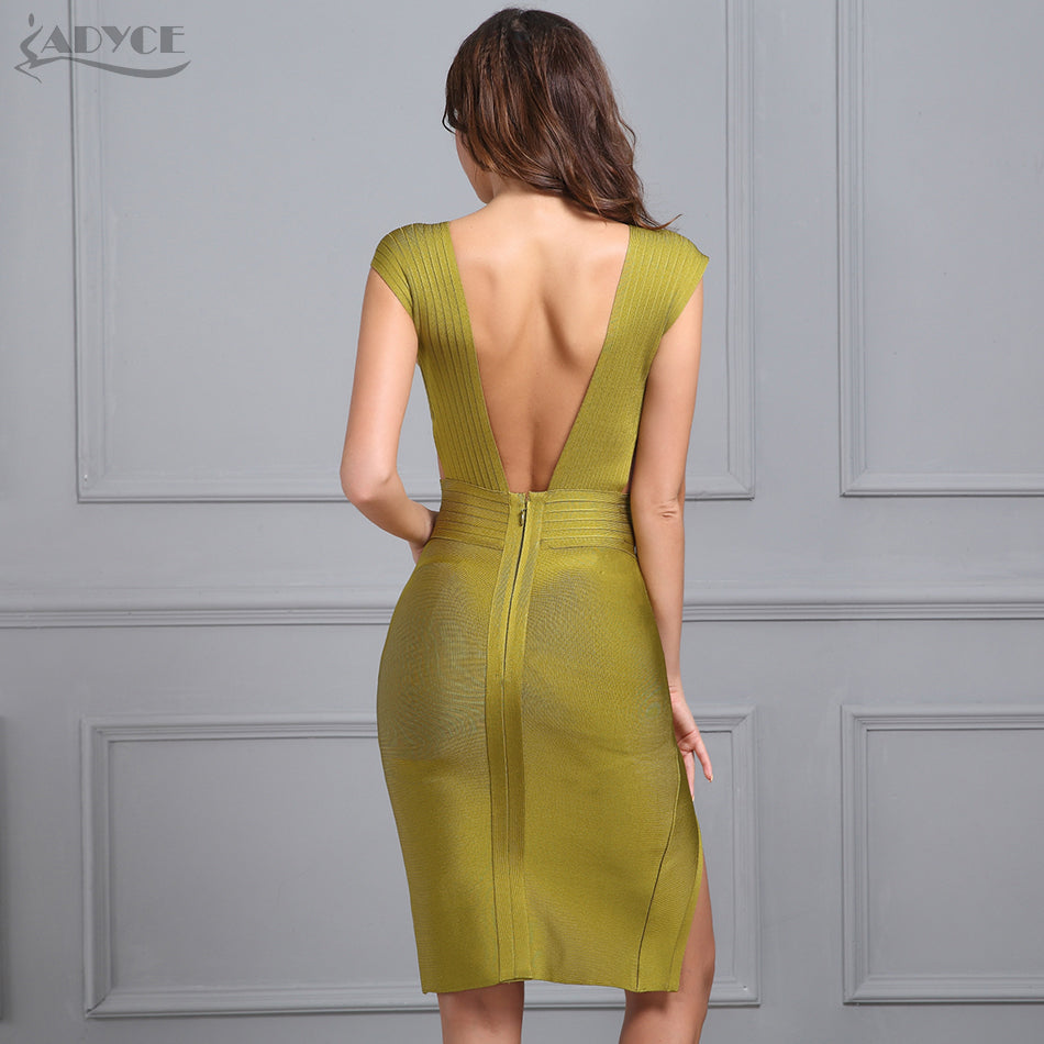 Spring Party Dress Olive Green White V-Neck Backless Hollow Out Split Women Bandage Dress