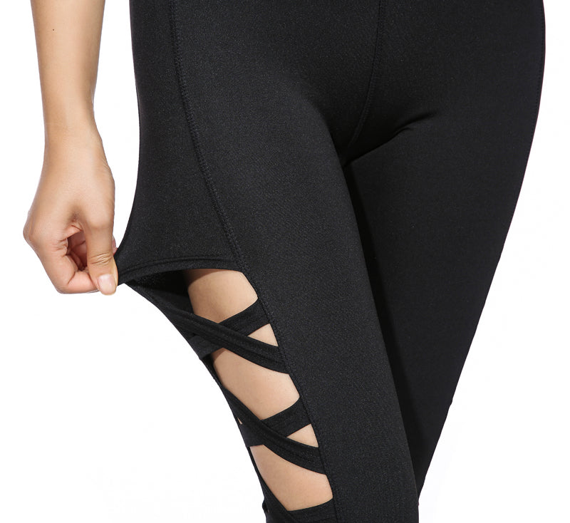 Cross Women Leggings Black Cut Out High Waist Hollow Fitness Legging