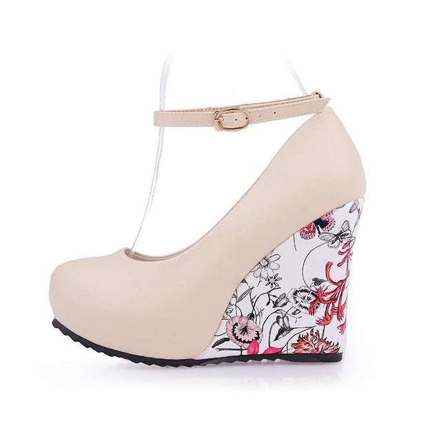 Women Pumps High Heels Wedges Platform Summer Pumps Flower Print Wedge Wedding Shoes