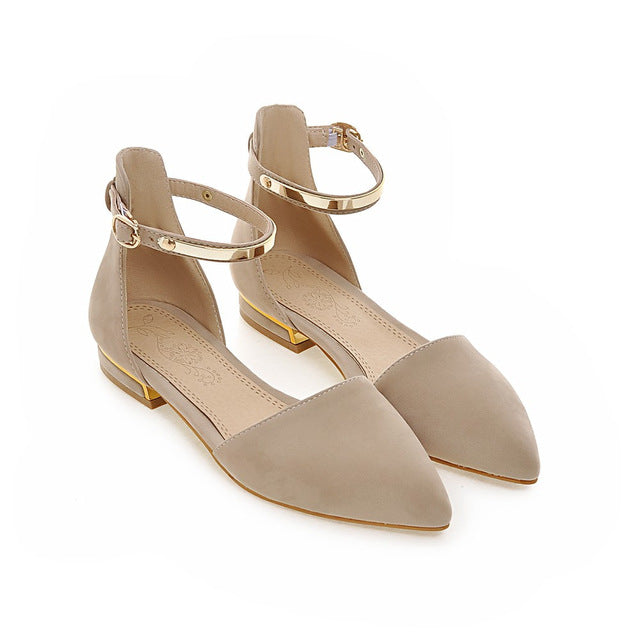 8be28f734a9 ... Black Apricot Summer Shoes Plus Size Pointed Toe Buckle Square Heel  Casual Single Low Heels Shoes ...