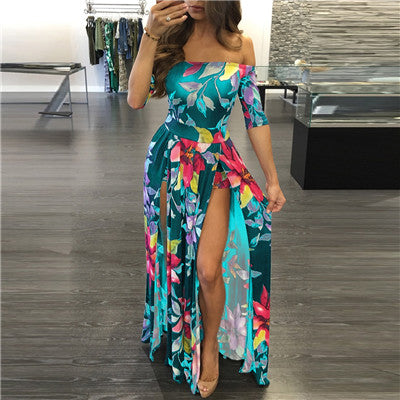 Plus Size Summer Dress Floral Print Off Shoulder Half Sleeve High Slit Bohemian Beach Women Dresses