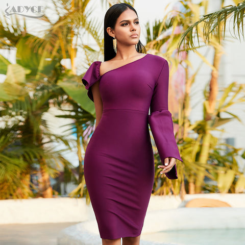 Summer One Shoulder Bodycon Bandage Dress Women Long Sleeve Midi Club Celebrity Evening Party Dress