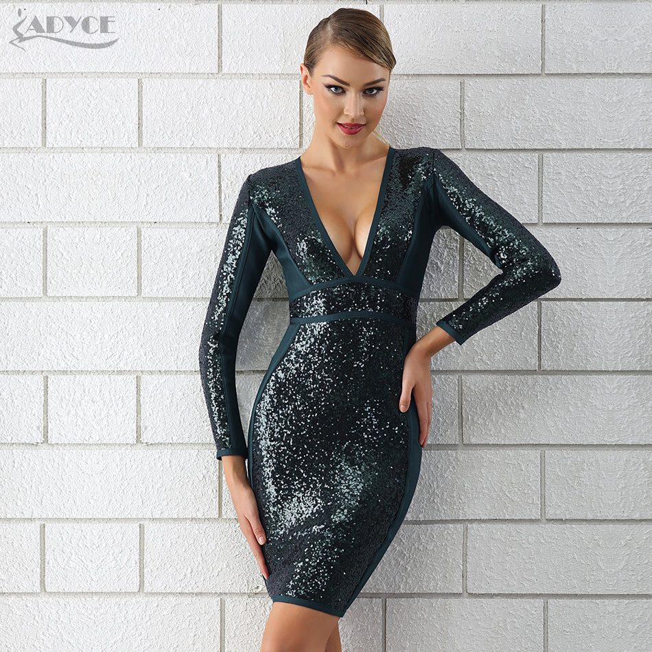 446c87a059 ... Bandage Chic Sequin Dress Luxury Celebrity Party V Neck Long Sleeve  Bodycon Dress ...