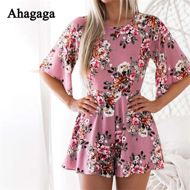 3dab0aec133 ... Summer Rompers Women Jumpsuits Floral Print Loose Playsuits Regular  Casual Jumpsuit ...