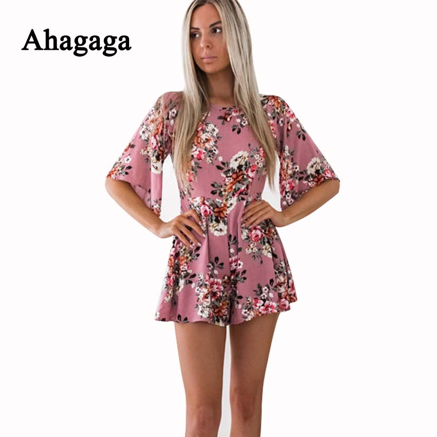 ccc59d5e745 ... Summer Rompers Women Jumpsuits Floral Print Loose Playsuits Regular  Casual Jumpsuit ...