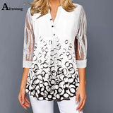 Plus Size V-neck Simple Tops 4 Sleeve Single Breasted Splice Lace 3/4 Shirt White Women T-shirt