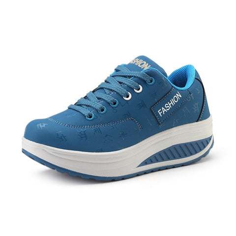 Women Sneakers Breathable Waterproof Wedges Platform Vulcanize PU Leather Casual Shoes