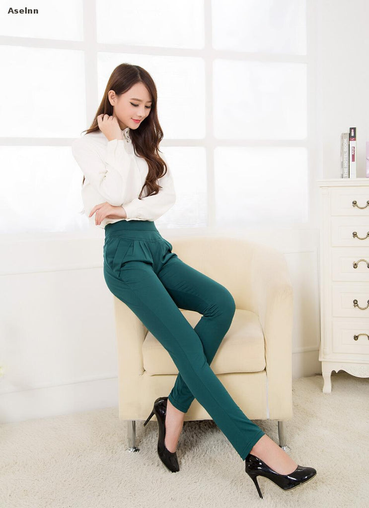 Spring Summer Women Harem Pants Casual Plus Size Formal Trousers Calf-length Pants