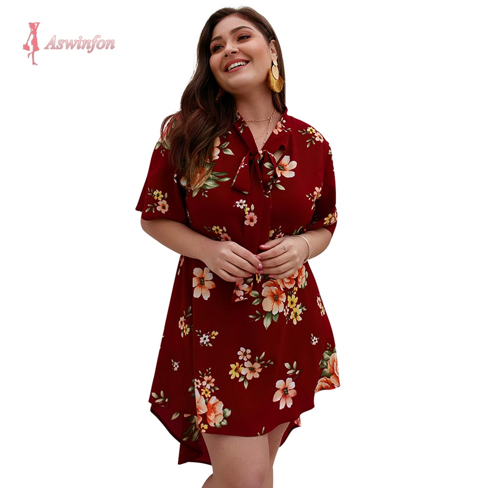 Plus Size Dress Women Summer Large Size Short Sleeve V-neck Printed Floral Elegant Dresses