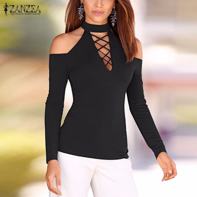 8d146fd73a9079 ... Autumn Women Lace Up Off Shoulder Blouse Long Sleeve Shirts Hollow Out  Casual Slim Solid Tops ...