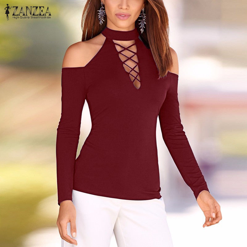 b2c661490db Autumn Women Lace Up Off Shoulder Blouse Long Sleeve Shirts Hollow Out  Casual Slim Solid Tops ...