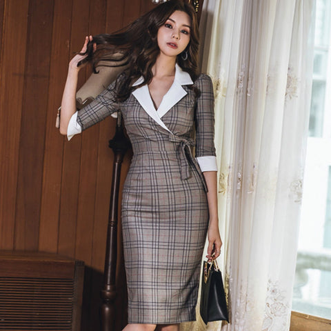Autumn Notched Vintage Plaid Bowknot Half Sleeve Knee-Length Bodycon Pencil Office Work Dresses