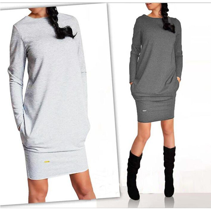 Autumn Winter Dresses Women Long Sleeve O-Neck Casual Pocket Dress Mini Sheath Work Office Dress
