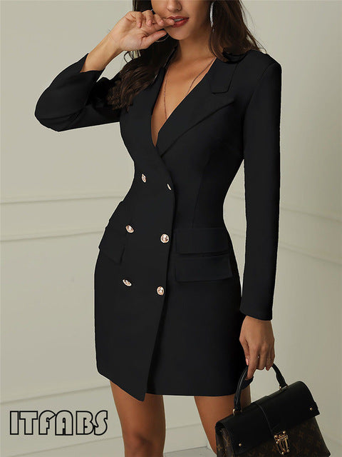 Autumn Winter Suit Blazer Women Casual Double Breasted Pocket Long Jackets Long Sleeve Blazer Outerwear