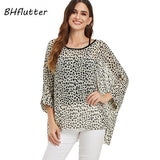 Plus Size Women Summer Blouse Shirt Batwing Casual Loose Chiffon Tops Blouses