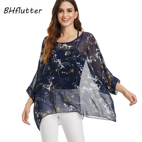 Plus Size Spring Women Blouses Tops Blouses Chiffon Long Sleeve Shirts