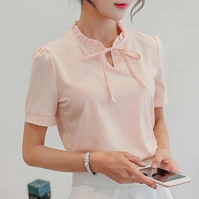 Women Blouses Summer Casual OL Chiffon Short Sleeve Work Wear Blouse Tops Shirts Blue/Pink/White