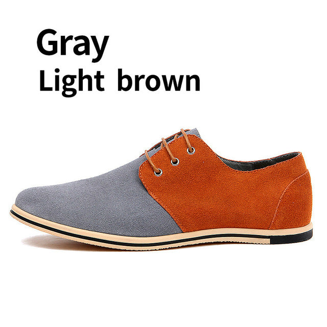 Mixed Colors Real Suede Leather Men Casual Shoes Formal Flat Oxford Shoes