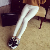 Women Slender Waist Woven Cotton Stretch Leggings Pants Skinny Leggings