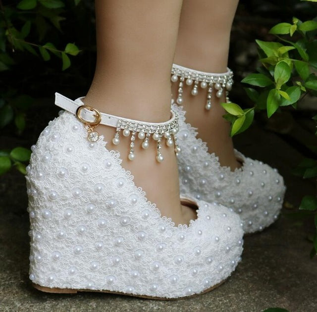 Wedges White/Pink Lace-up Wedding Shoes Women High Heels Bridesmaid Ankle Strap Pumps