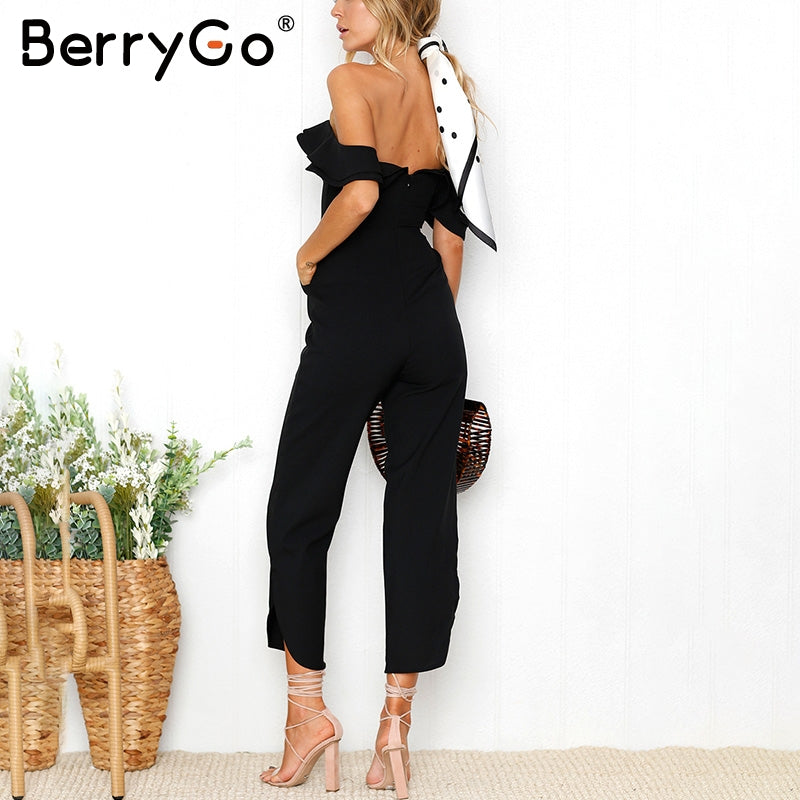 Backless Off Shoulder Black Women Tiered Ruffle High Waist Jumpsuit Romper Split Casual Overall