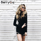 Hollow Out Hole Bodycon Dress Women Slim Long Sleeve Black Dress Party Short Dress
