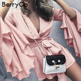 V Neck Flare Long Sleeve Playsuit High Waist Tie Up Pleated Satin Short Romper Summer Jumpsuit