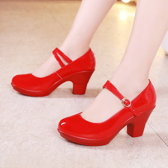 Big Size Medium Block Heel Women Wedding Red White Mary Jane Pumps Leather Shoes