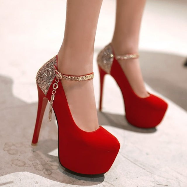 Women Pumps Wedding Shoes Mary Jane Party Prom Round Toe High Heels High Buckle Bling Bridal Shoes