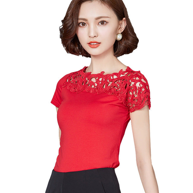 4e8fe7890eb7 ... Blouse Shirt Women Cotton Lace Patchwork Summer Short Sleeve Shirt  Ladies Tops Plus Size ...