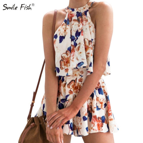Boho 2 Pieces Sets Summer Women Halter Sleeveless Shirts Floral Printed Crop Tops Shorts Suits