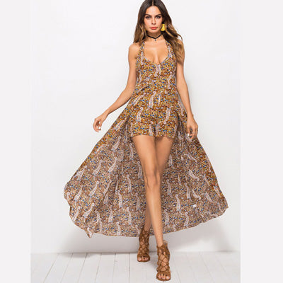 Boho Floral Print Romper Long Cloak Dress Women Halter Sleeveless Asymmetrical Maxi Backless Dresses
