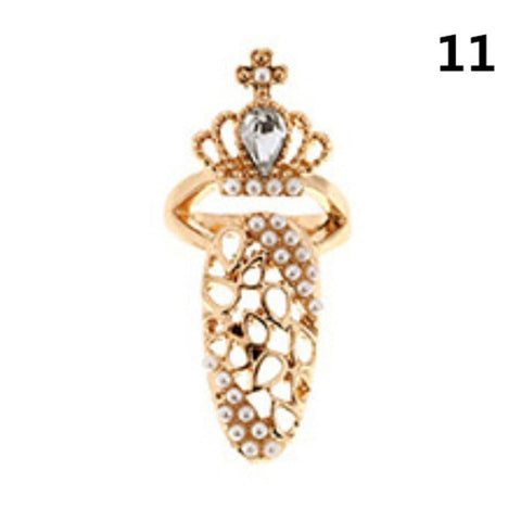 Nail Ring Charm Crown Flower Crystal Finger Nail Rings Women Rhinestone Fingernail Protective Jewelry