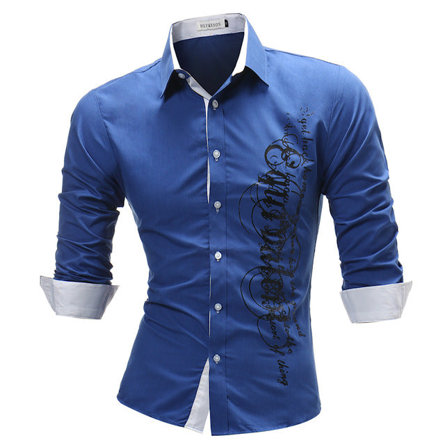 Male Shirt Long-Sleeves Tops Letter Print Shirts Slim Men Shirt Plus Size
