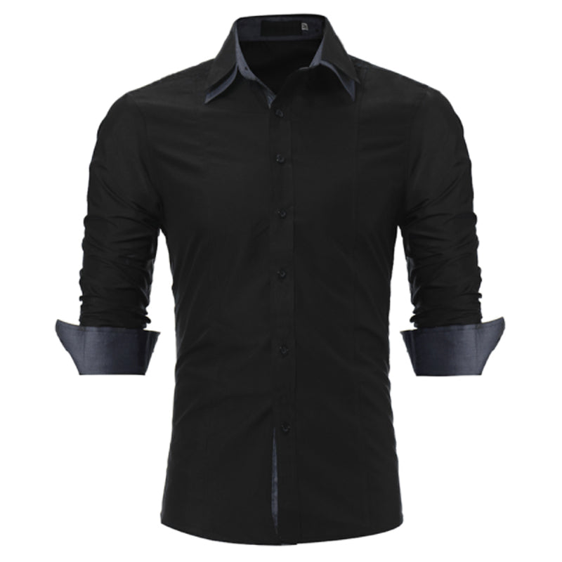 Male Shirt Long-Sleeves Tops Slim Casual Solid Color Slim Men Shirts