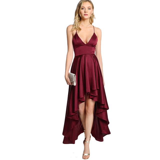 Party Dress Deep V Neck Spaghetti Strap Sleeveless Maxi Asymmetrical Crisscross Backless High Low Dress