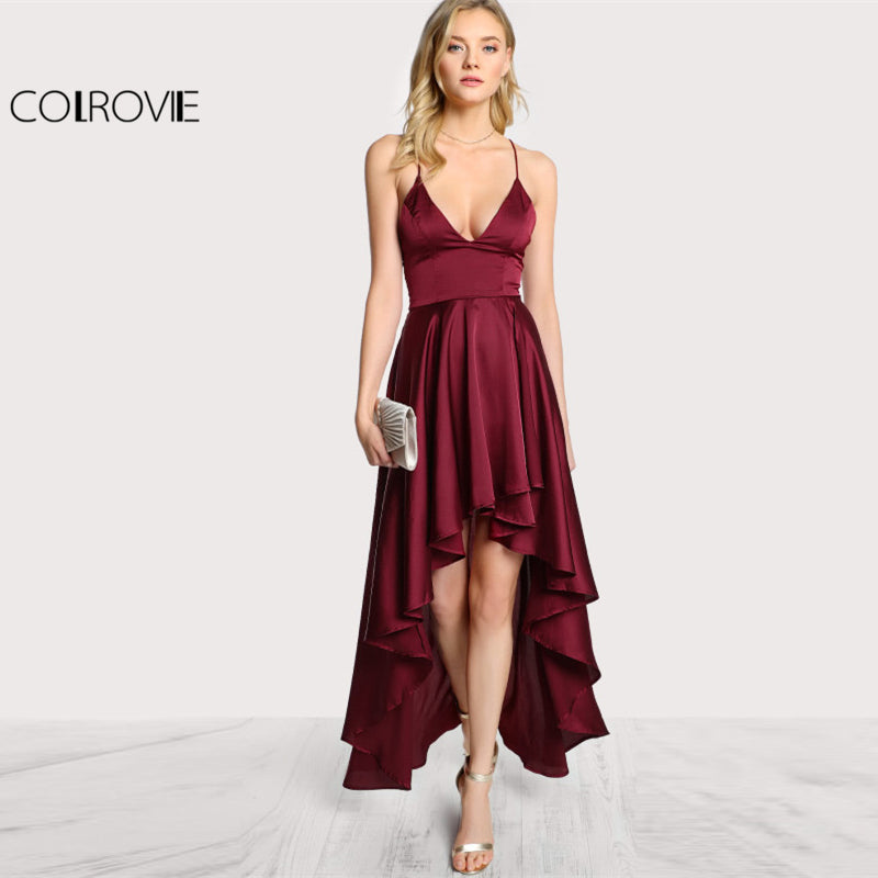 ... Party Dress Deep V Neck Spaghetti Strap Sleeveless Maxi Asymmetrical  Crisscross Backless High Low Dress ... 292dd10dc