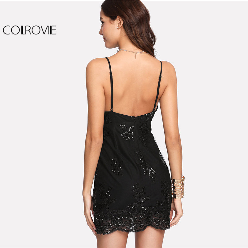 Deep V Neck Spaghetti Strap Sleeveless Dress Black Plunge Neck Sequin Overlay Women Party Dress