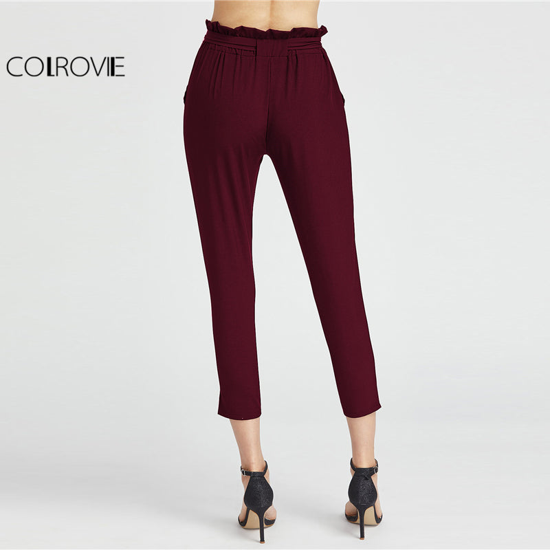 High Waist Capri Pants Burgundy Elastic Waist Ruffle Waist Self Tie Bow Carrot Pants Women Elegant Trousers