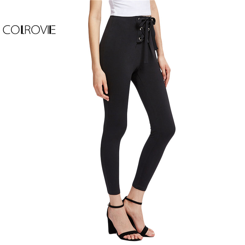 High Waist Skinny Leggings Black Grommet Lace Up Front Plain Leggings Stretch Sporting Pants
