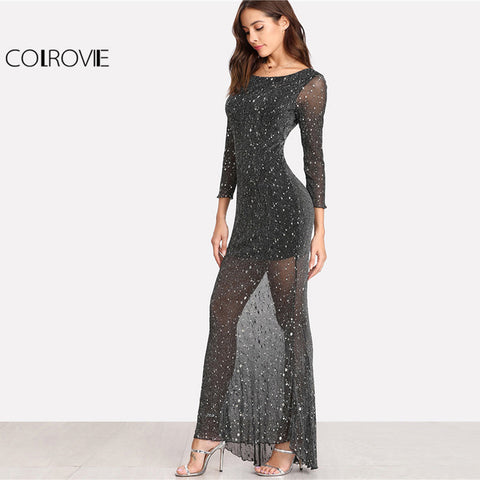 4ff2454fe Party Dress Black Scoop Neck Backless Long Sleeve Maxi Women Lettuce Edge  Open Back Sparkle Mesh Dress