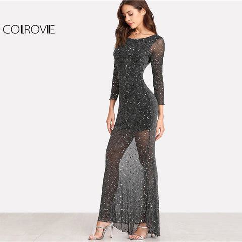 Party Dress Black Scoop Neck Backless Long Sleeve Maxi Women Lettuce Edge Open Back Sparkle Mesh Dress